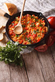 Turkish Menemen fried with vegetables close-up vertical — Stock Photo