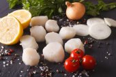Raw scallops and ingredients close-up. horizontal — Stock Photo