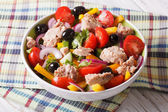 Fresh salad with tuna fish and vegetables in a bowl. horizontal — Stock Photo