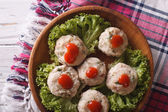 Canederli with tomato sauce closeup on a plate. horizontal top v — Stock Photo