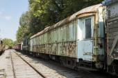 Old rusted train at trainstation hombourg — Stock Photo