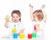 Children playing with finger paints — Stock Photo