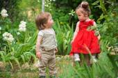 Children playing in the garden — Stock Photo