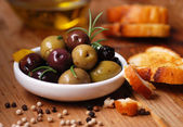 Olives and spices — Stock Photo