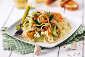 Italian pasta noodles with assorted vegetables — Stock Photo