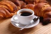 Espresso and croissant — Stock Photo