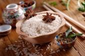 Basmati rice in wooden bowl — Stock Photo