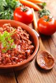 Meat sauce in the bowl — Stock Photo