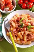 Pasta with sausage sauce — Stock fotografie