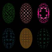 Easter eggs on a black background — Stock Vector