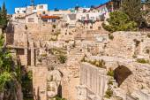 Ancient Pool of Bethesda ruins. Old City Jerusalem, Israel. — Stock Photo