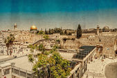 Western Wall,Temple Mount, Jerusalem. Photo in old color image style. — Stock Photo