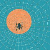 Big dark spider on the web — Stock Vector