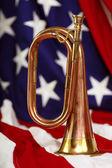 Bugle with flag — Foto de Stock