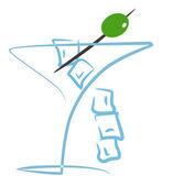 Cocktail met olijf illustratie — Stockfoto