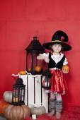 Beautiful children on Halloween in the studio — Stock Photo