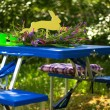 Folding table with benches tourism blue — Stock Photo #72591383