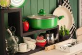 Dish wooden shelf with various dishes — Stock Photo