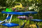 Folding table with benches tourism blue — Stock Photo