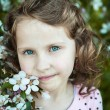 Beautiful blonde blue-eyed girl in a flowering apple orchard — Stock Photo #73606173