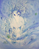 Underwater Unicorn Scene in Water Color — Foto Stock