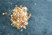 Closeup on muesli on stone substrate — Stock Photo