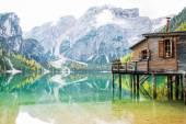 Lake braies in south tyrol, italy — Foto Stock