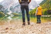 Closeup on mother and baby walking on lake braies in south tyrol — Stock Photo