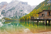 Lake braies in south tyrol, italy — Stock Photo
