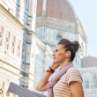 Woman with map and audio guide — Stock Photo #67065649