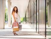 Donna dai capelli castani sorridente che tiene colorate borse shopping — Foto Stock