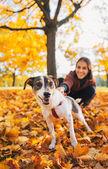 秋に屋外若い女性を引っ張るひもにつないで犬をクローズ アップ — ストック写真