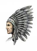 Artistic drawing of native american man — Stock Photo