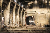Old abandoned railway plant inside — Stock Photo