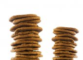 Stacks of cookies isolated — Stock Photo