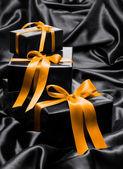 Black gift boxes — Stock Photo