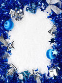 Christmas blue and silver frame — Stock Photo
