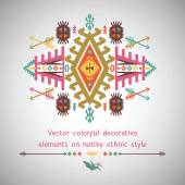 Vector colorful decorative element in native ethnic style — Stock Vector