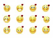 Set valentine emoticons — Stockvector