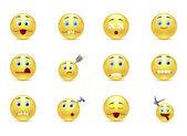 Set unhealthy funny smiles — Vector de stock