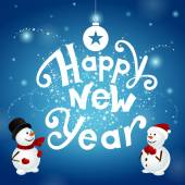 Happy new year with snowmans — Stock Photo