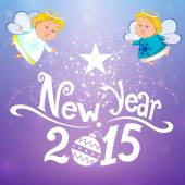 Happy new year with two angels — Stock Photo
