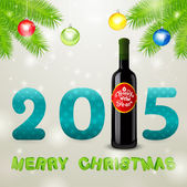 Christmas background with bottle of wine and balls — Stock Photo