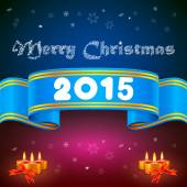Blue ribbon 2014, Christmas background — Stock Photo