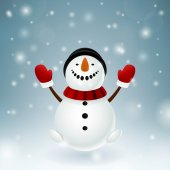 Smiley snowman with red mittens — Stock Photo