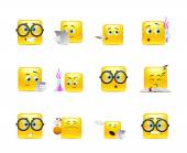 Set of emoticons for students — Stock Vector