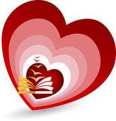 Love book fly logo — Stock Vector