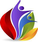 Lotus couple logo — Stock Vector