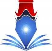 Bright pen and book logo — Stock Vector