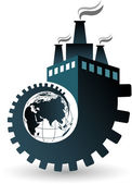 Globe factory logo — Stock Vector